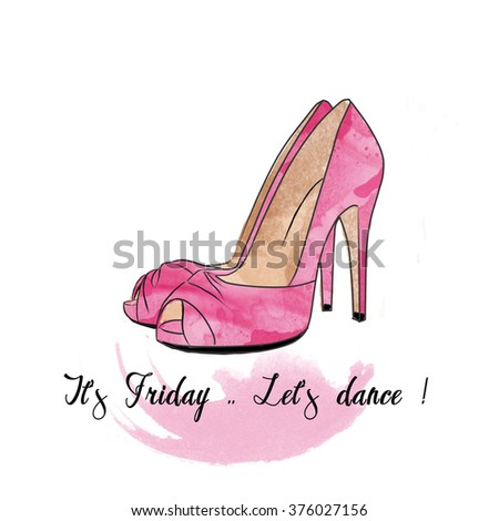 Watercolor hand drawn fashion illustration - Stiletto shoes on a text and watercolor background