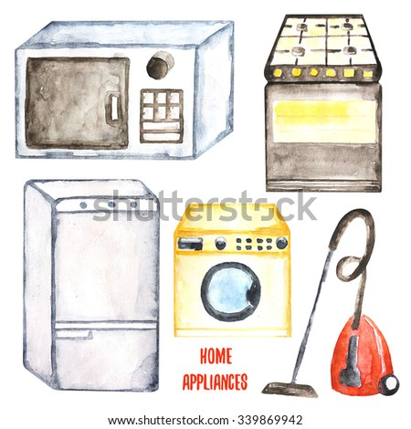 Watercolor hand drawn home appliances collection including fridge, microwave, washing machine, vacuum cleaner, stove. House appliances icon, banner for market, sale design - stock photo