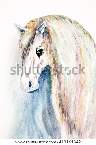 watercolor hand drawn horse face - stock photo