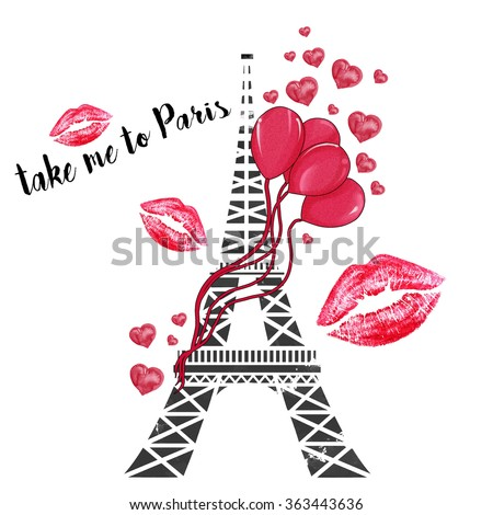watercolor hand drawn illustration - Eiffel tower with ballons, lipstick marks and hearts