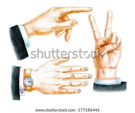 Watercolor hand drawn illustration of hand simbols. - stock photo