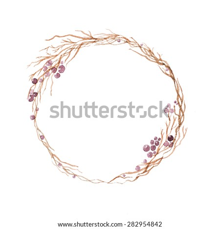 Watercolor hand drawn painting of wooden wreath with berries - stock photo
