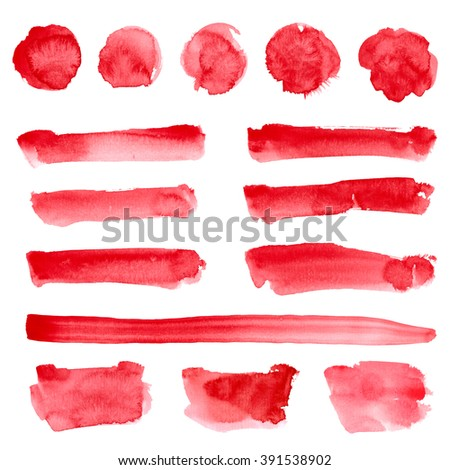 Watercolor hand drawn round, stripes, rectangle shapes set in bright red color isolated on white. Design elements watercolor background. - stock photo