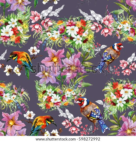 Watercolor hand drawn seamless colorful pattern with beautiful flowers and birds on purple background