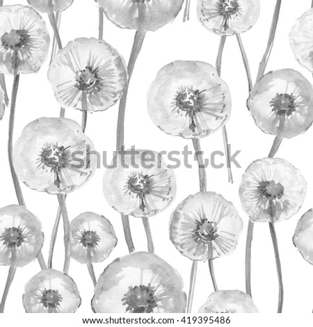 Watercolor hand drawn seamless pattern with spring tender flowers - dandelions. Black and white background. - stock photo