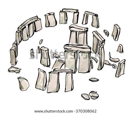 Watercolor Hand drawn sketch  illustration architecture landmark of Stonehenge United Kingdom isolated - stock photo
