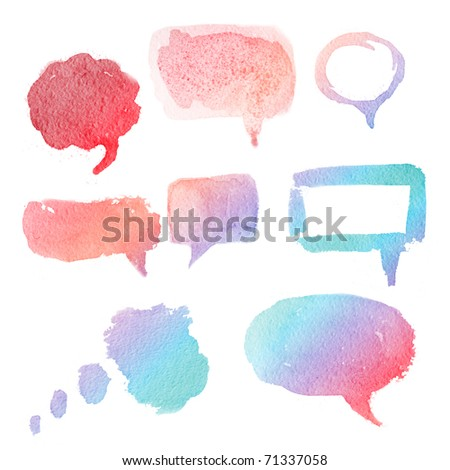 watercolor hand drawn speech bubbles. Creative talk symbol. - stock photo