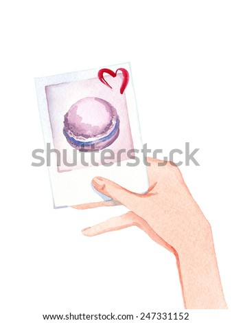 Watercolor hand drawn Valentine's Day card. Photo with macaroon  - stock photo