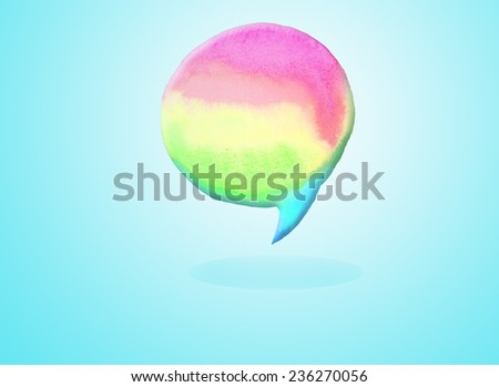 watercolor hand paint empty speech bubble dialog shape with color