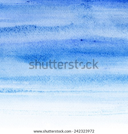 Watercolor hand painted brush strokes  Abstract blue background. Light blue aquarelle sky. - stock photo