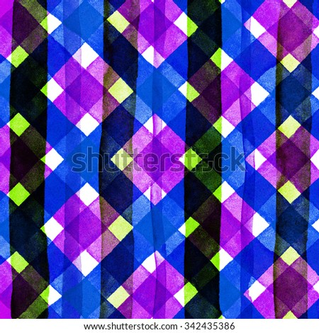 Watercolor hand painted brush strokes, bright pink, blue, purple colorful striped background, Abstract bright colorful watercolor background, brown Checkered pattern - stock photo