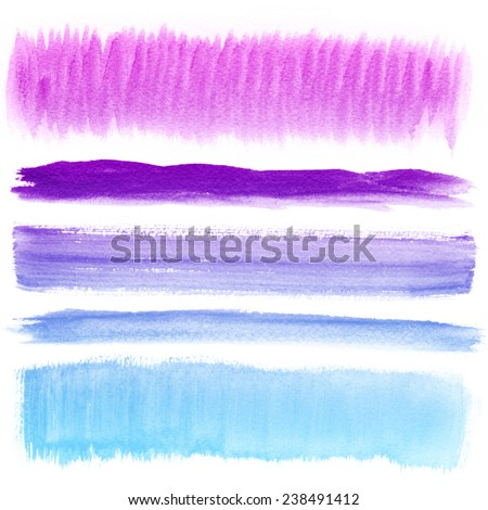 Watercolor hand painted brush strokes. Colorful banners. Isolated on white background.  - stock photo