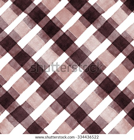 Watercolor hand painted brush strokes, dirty yellow , brown and white striped background, Abstract bright colorful watercolor background, brown Checkered pattern - stock photo
