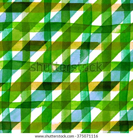 Watercolor hand painted brush strokes, green, blue and yellow striped background, Abstract bright colorful watercolor background, Checkered pattern. - stock photo