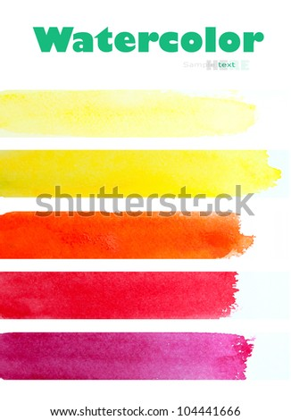Watercolor hand painted brush strokes on white background. Made myself. - stock photo