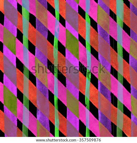 Watercolor hand painted brush strokes, pink and green striped background, Abstract bright colorful watercolor background, Checkered pattern. - stock photo