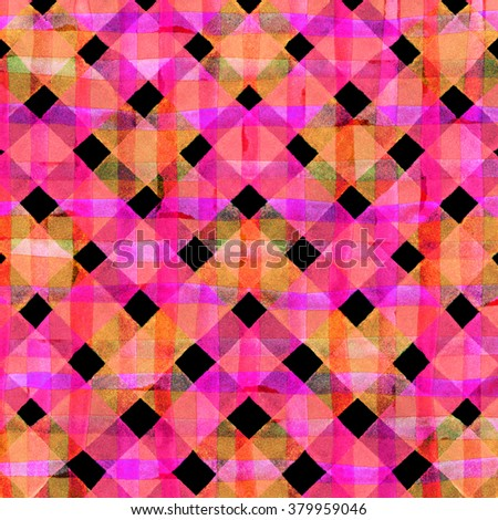 Watercolor hand painted brush strokes, pink and red striped background, Abstract bright colorful watercolor background, Checkered pattern - stock photo