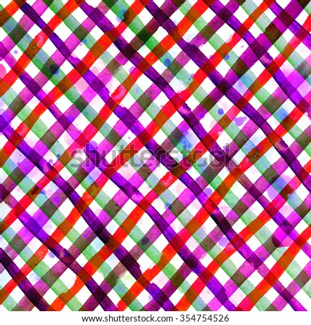 Watercolor hand painted brush strokes, pink and red, yellow, green striped background, Abstract bright colorful watercolor background, Checkered pattern. - stock photo