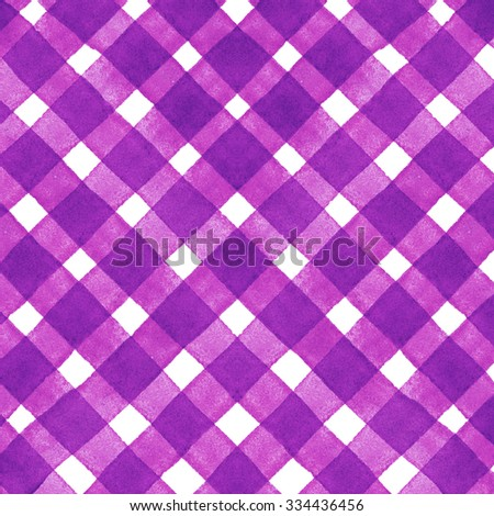Watercolor hand painted brush strokes, pink and white striped background, Abstract bright colorful watercolor background, brown Checkered pattern - stock photo