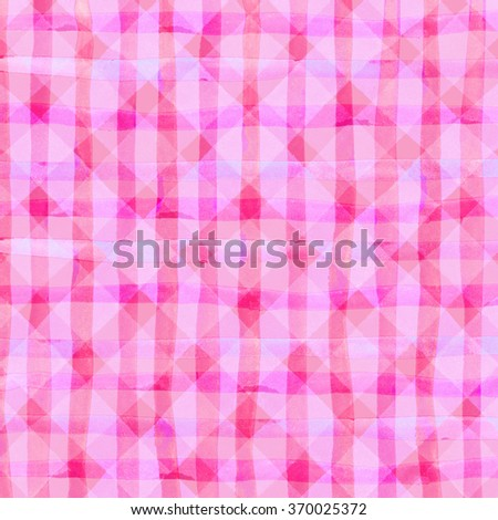Watercolor hand painted brush strokes, pink striped background, Abstract bright colorful watercolor background, Checkered pattern. - stock photo
