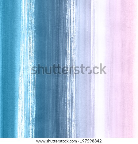 Watercolor hand painted brush strokes, striped background. Abstract aquarelle texture backdrop. Hand drawn technique.  - stock photo