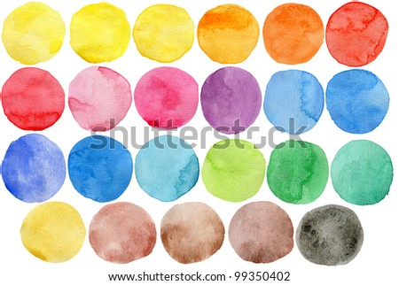 Watercolor hand painted circle shape design elements - stock photo