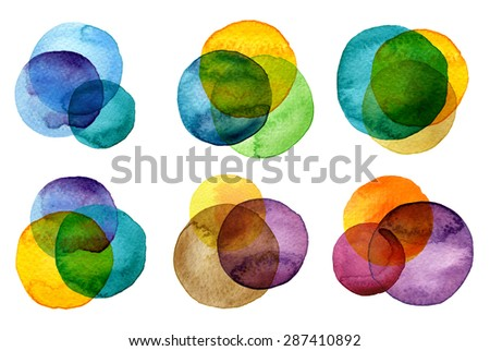 Watercolor hand painted circles collection - stock photo