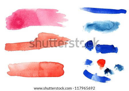 Watercolor hand painted  design elements. Isolated. Made myself. - stock photo