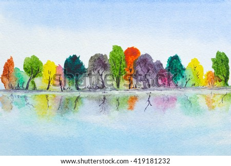 watercolor hand painted lake with autumn trees with reflection - stock photo