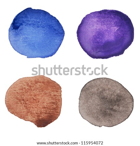 Watercolor hand painted multicolor dots. Isolated. Made myself. - stock photo