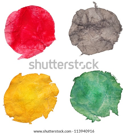 Watercolor hand painted on crumpled paper multicolor dots. Isolated. Made myself. - stock photo