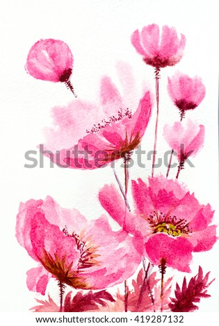 watercolor hand painted pink poppies composition - stock photo