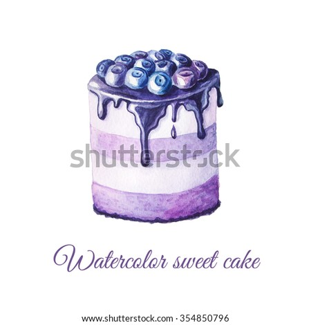 Watercolor hand painted sweet and tasty cake with blueberry and cream on it.  Fruit dessert can be used for card, postcard, wedding card, invitation, birthday card, menu, recipe.  - stock photo
