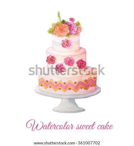Watercolor hand painted sweet and tasty cake with flowers on it. Colorful dessert can be used for card, postcard, wedding card, invitation, birthday card, menu, recipe.  - stock photo