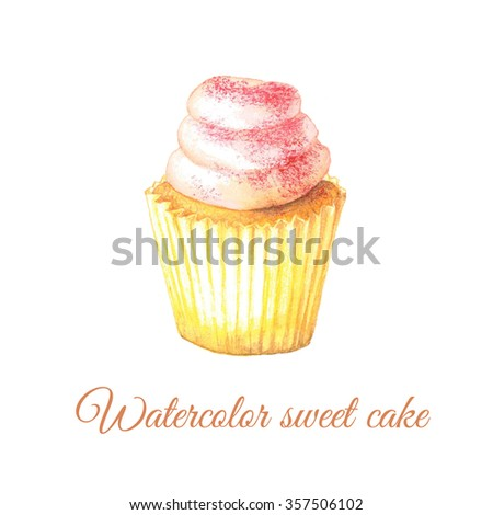 Watercolor hand painted sweet and tasty cupcake with cream on it. Colorful dessert can be used for card, postcard, wedding card, invitation, birthday card, menu, recipe.  - stock photo