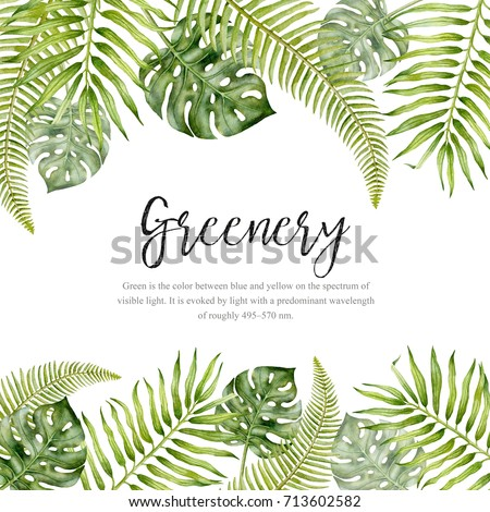 Watercolor hand painted tropical frame watercolor stock for Watercolor greenery