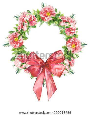 Watercolor handmade floral round frame wreath set with color bow - stock photo