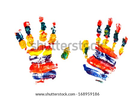 Watercolor hands print a little baby
