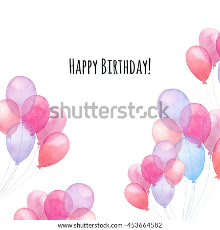 Watercolor happy birthday card hand painted stock illustration watercolor happy birthday card hand painted air balloons square frame isolated on white background bookmarktalkfo Gallery