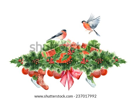 Watercolor header decoration elements set with holly and presents and birds - stock photo