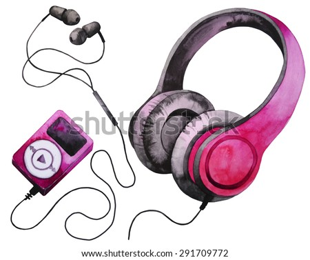 Watercolor headphones and mp3 player - stock photo