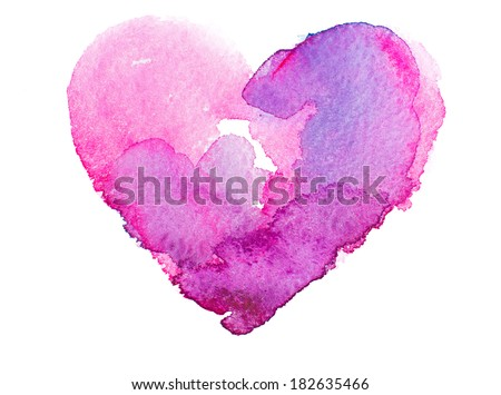 watercolor heart. Concept - love, relationship, art, painting - stock photo
