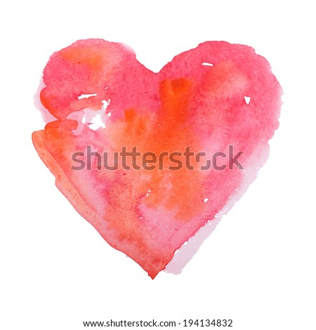 Watercolor heart, raster version - stock photo