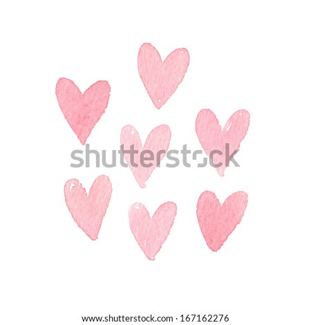 Watercolor hearts - stock photo
