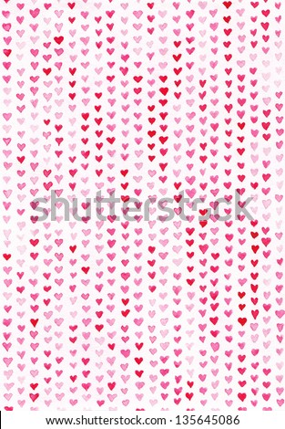 Watercolor Hearts/ A Background of Hearts on Pink Watercolor Paper - stock photo
