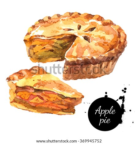 Watercolor homemade organic apple pie dessert. Isolated food illustration on white background - stock photo