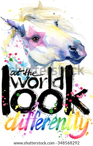 watercolor horse. Text Look at the world. watercolor horse T-shirt lettering graphics design. watercolor illustration inscription. watercolor letter background. rainbow watercolor background - stock photo
