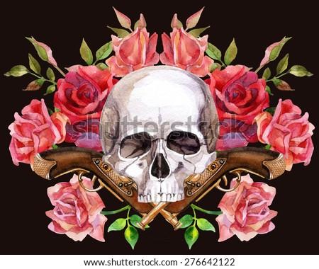 Watercolor Human Skull Guns Roses Hand Stock Illustration ...