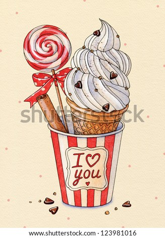 Watercolor Ice cream and cinnamon. Happy Valentine's Day. - stock photo