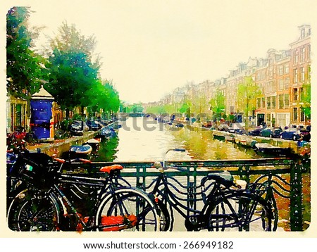 watercolor illustration amsterdam canals and houses - stock photo